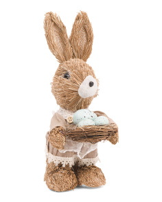 11in Straw Girl Bunny With Bird Nest