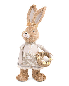22in Straw Girl Bunny With Egg Basket