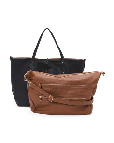 2pc Reversible Tote And Handbag Set