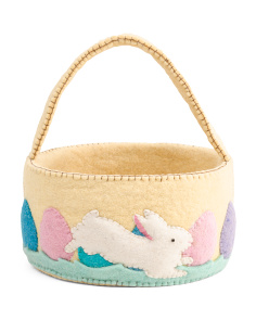 10in Felt Hopping Bunny Easter Basket