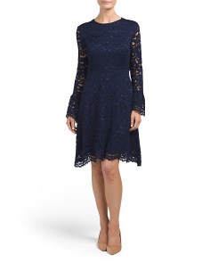 All Over Lace Bell Sleeve Dress