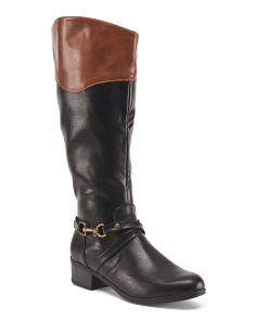 Two Tone High Shaft Riding Boots