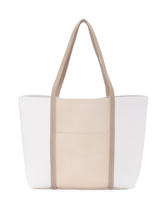 Danielle Raw Tote With Front Pocket