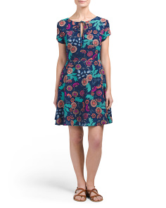 Juniors Short Sleeve Printed Dress
