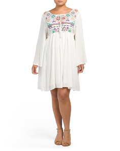 Plus Embroidered Baby Doll Dress