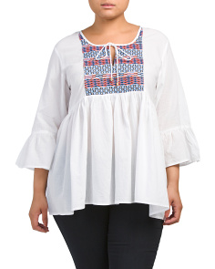 Plus Juniors Embroidered Front Shirt