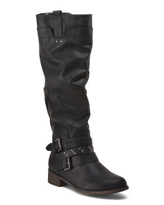 High Shaft Boots With Wrap Buckle