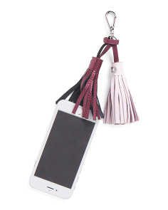 Sara Charger Leather Tasseled Key Chain