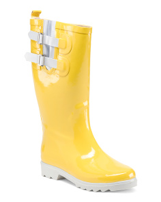 Double Buckle High Shaft Rain Boots