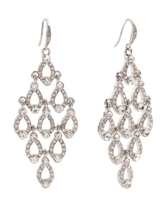 Silver Tone Crystal Kite Chandelier Earrings