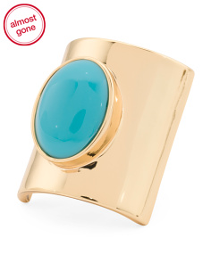 Gold Tone And Light Blue Oval Stone Ring