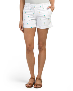 Embroidered Shorts With Pineapples