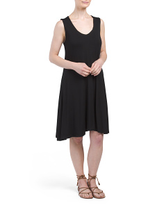 Sleeveless V Neck Trapeze Dress