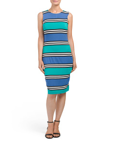 Sleeveless Crew Neck Striped Dress
