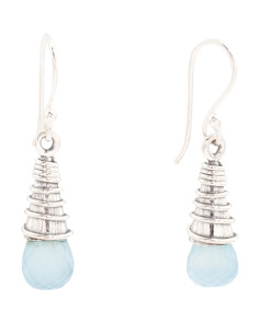 Made In India Sterling Silver Gemstone Cone Earrings