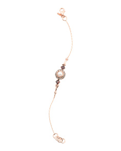Made In Italy Rose Plate Pearl And CZ Vintage Style Bracelet