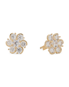 Made In Italy 14k Gold Cubic Zirconia Flower Stud Earrings