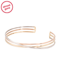 Made In Italy 14k Tricolor Gold Cuff Bracelet