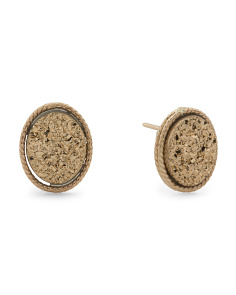 Made In Italy 14k Gold Gold Drusy Stud Earrings