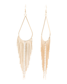 Crystal Embellished Snake Fringe Earrings In Gold Tone