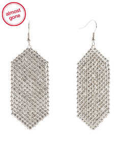 Crystal Embellished Statement Earrings In Silver Tone