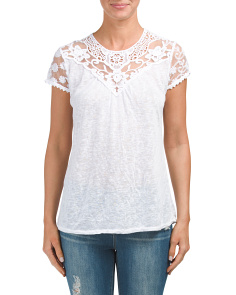 Made In Italy Short Sleeve Lace Top
