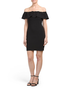 Juniors Ruffled Bodycon Dress