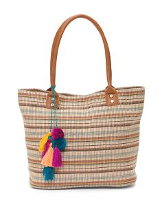 Stripe Straw Tote With Tassels