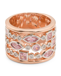 Rose Gold Plated Sterling Silver Cubic Zirconia Stack Ring