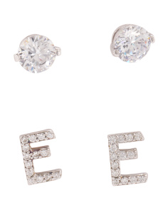 Set Of 2 Sterling Silver Cubic Zirconia Earrings With Initials