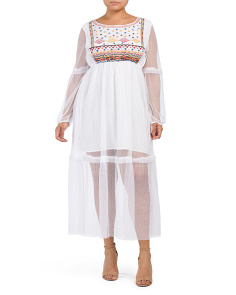 Plus Embroidered Bib Mesh Maxi Dress