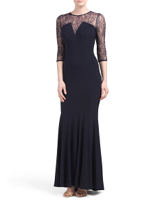 Made In USA Long V Lace Sleeve Gown