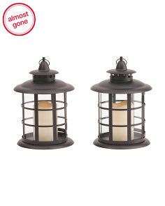 Set Of 2 11in Round Metal LED Lanterns