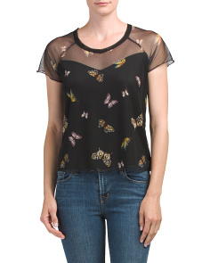 Juniors Butterfly Print Top