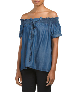 Juniors Lace Up Chambray Shirt