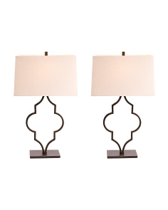 Set Of 2 Quatrefoil Table Lamps