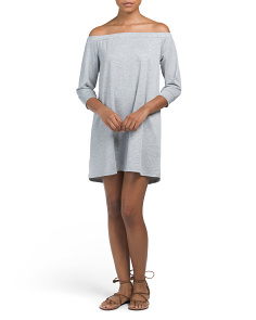 Juniors Off The Shoulder French Terry Dress