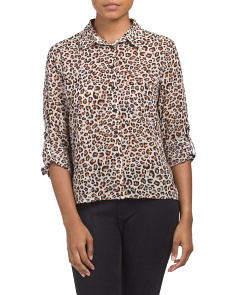 Juniors Chiffon Button Down Top