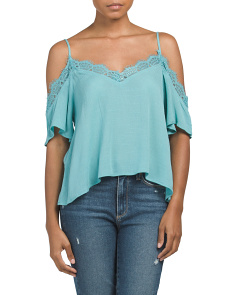 Juniors Cold Shoulder Washed Top