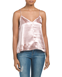 Juniors Sleeveless Double-v Satin Top