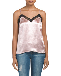 Juniors Sleeveless Satin Top