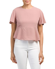 Juniors Flutter Sleeve Peplum Top