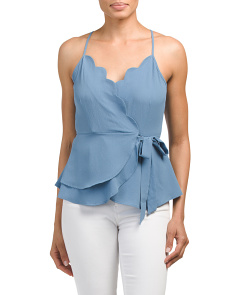 Juniors Scalloped Wrap Top