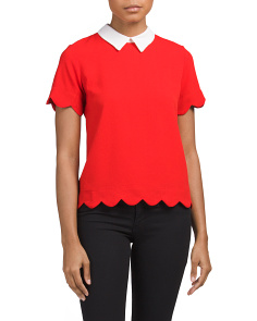 Juniors Scalloped Two-fer Top