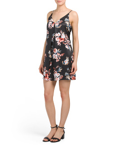 Juniors Floral Pleat Front Slip Dress