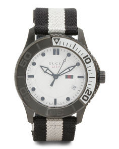 Men's Swiss Made G Timeless Stripe Band Watch
