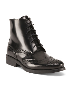 Made In Italy Wingtip Lace Up Leather Booties