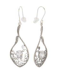 Made In Israel Sterling Silver Cubic Zirconia Scroll Drop Earrings