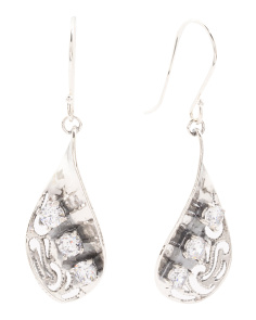 Made In Israel Sterling Silver Cubic Zirconia Drop Earrings