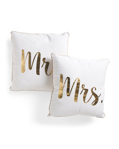 20x20 2pk Mr And Mrs Script Pillow
